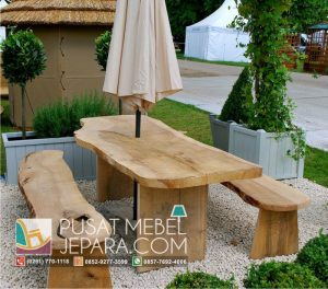 Meja Taman Trembesi Solid Wood Bench