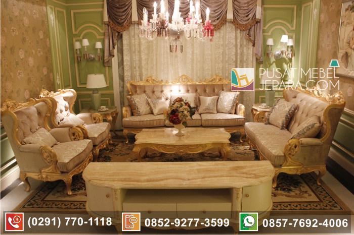 Set Kursi Tamu Sofa Bulu Angsa Emas Mewah Meja Marmer