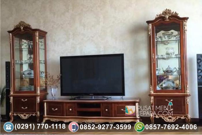 Bufet TV Ukir Pintu Kaca Kayu Jati