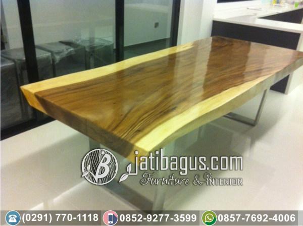 Meja Trembesi Solid Wood Kaki Stainless Anti Karat