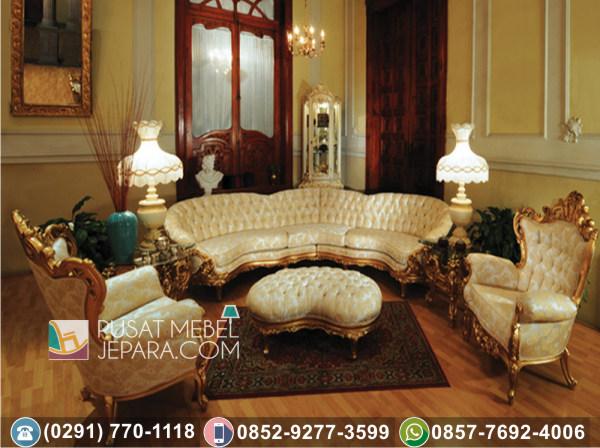Kursi Tamu Sofa Sudut Ukir Gold Lamp