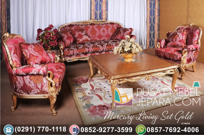 Kursi Tamu Sofa Ukir Mewah Mercury Living Set Gold