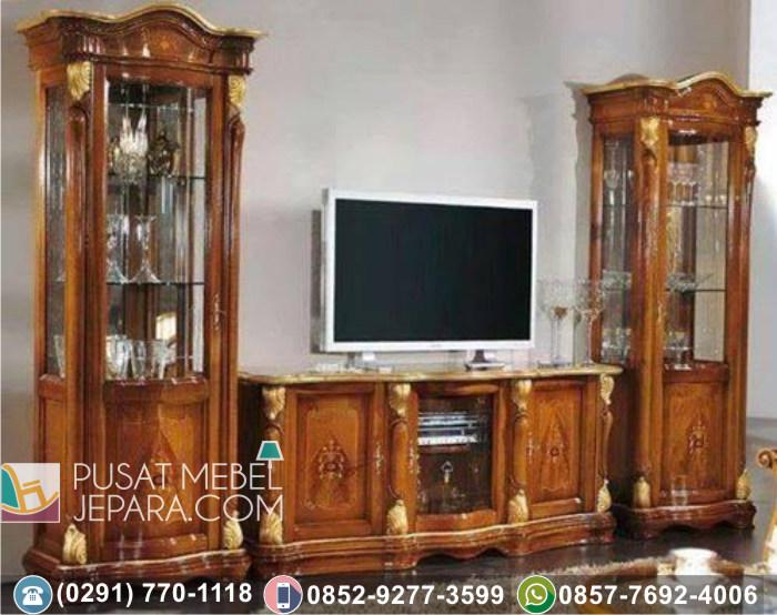 Bufet Lemari Meja TV Ukir Kayu Jati Klasik Mewah Duco Putih Cirebon