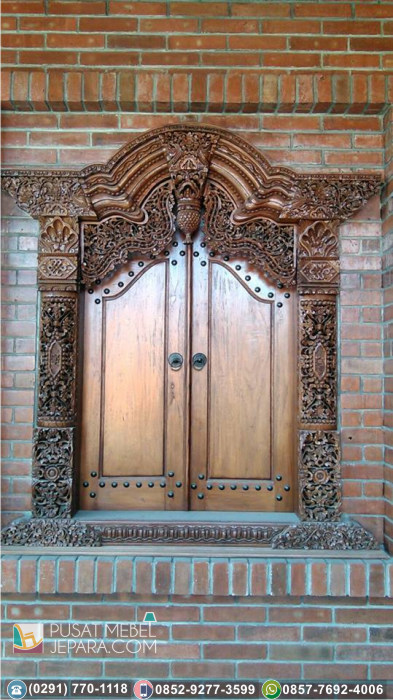 Pintu Ukir Unik Gebyok Jati Asli Bantul Mewah