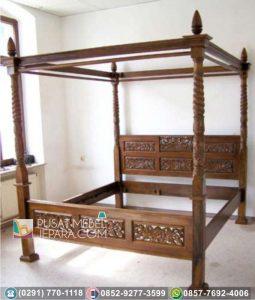 Set Tempat Tidur Ukir Jati Asli Mewah Camden