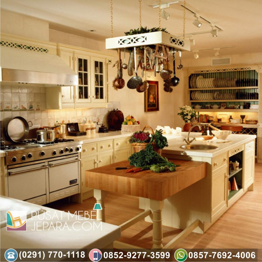 Jual Kitchen Set Jati Ukir Minimalis Karawang Termurah