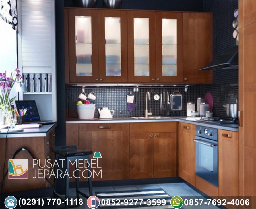 Jual Kitchen Set Jati Ukir Minimalis Ciamis Terbaru Duco Putih