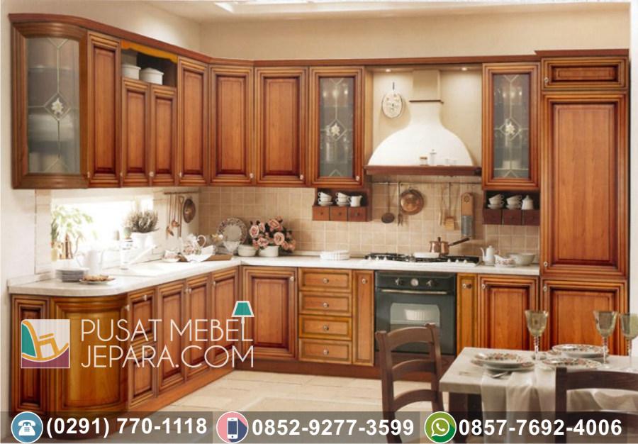 Jual Kitchen Set Jati Ukir Minimalis Tulungagung Terbaru Duco Putih