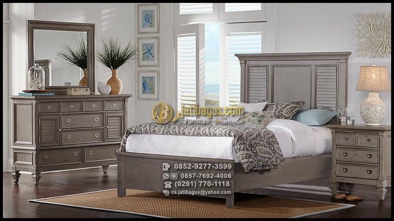 Set Tempat Tidur Minimalis Jati Finishing Grey